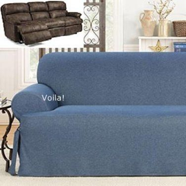 Broyhill Sofa Reclining T Cushion SOFA Slipcover Denim Blue Jeans Sure Fit Couch Cover
