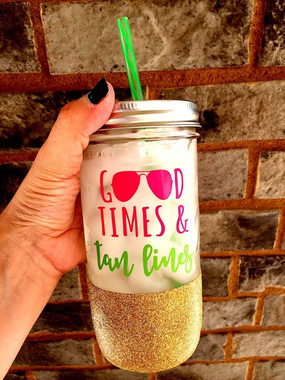 Good Times and Tan Lines Glitter Mason Jar Summer by SipSoSweet