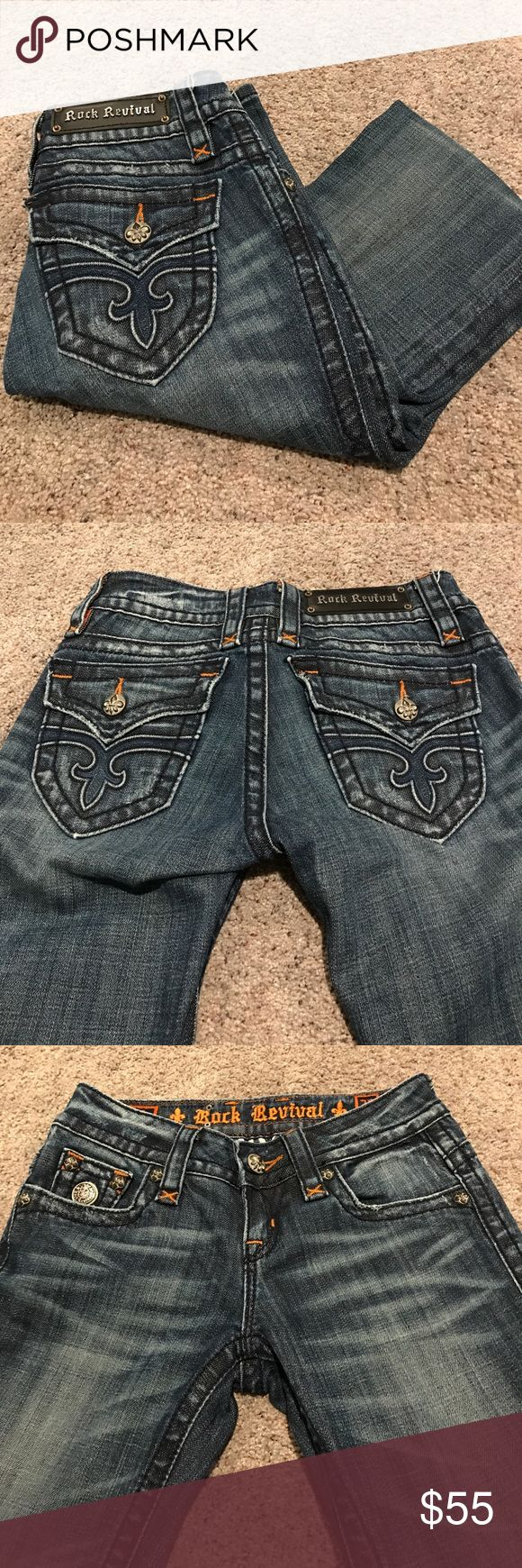 Women's Rock Revival Jeans Women's Rock Revival Jeans; size 26; Jen Straight leg; good condition; inseam 32 Rock Revival Jeans Straight Leg
