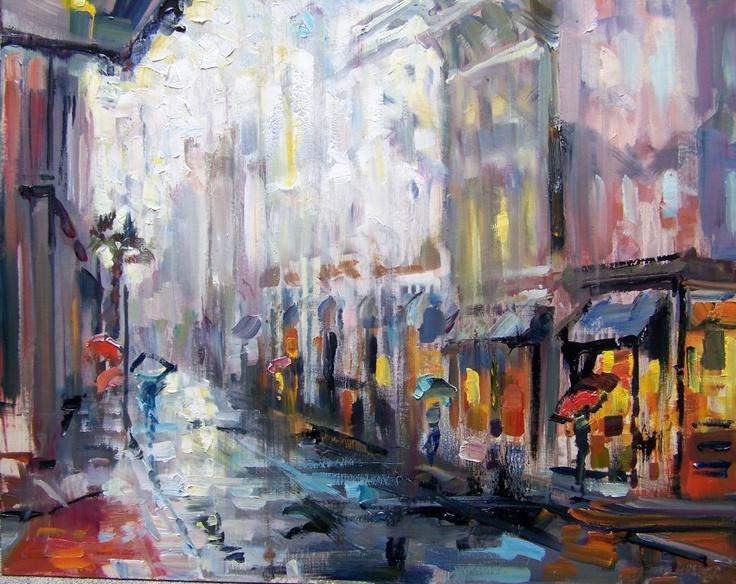 """Umbrellas on King"" -Rick Reinert: Rick Reinert, Creative Art, Modern Impressionists, Eccentrically Centered"