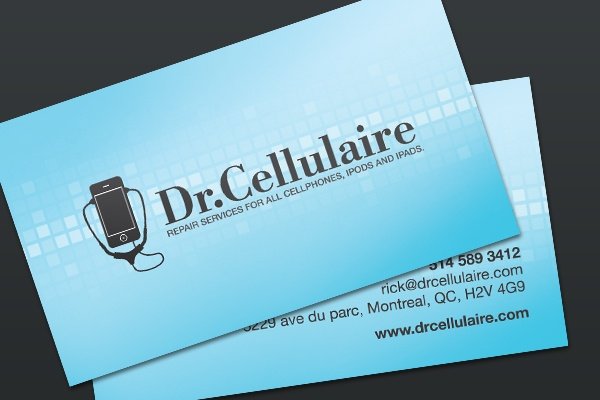 Business cards for a local cell phone repair shop in for Phone repair business card