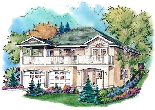 Plan No. 136113 - Just right for a lot with an uphill slope, this design offers plenty of outdoor living space. Take note of the cozy islanded kitchen and family area complete with a corner fireplace and access to a rear patio.