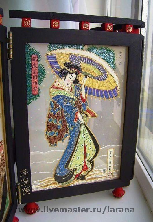"""Декоративная мини-ширма """"Гейши"""" - ширмы,мини-ширмы,гейши,ширма,чайные церемонии"""