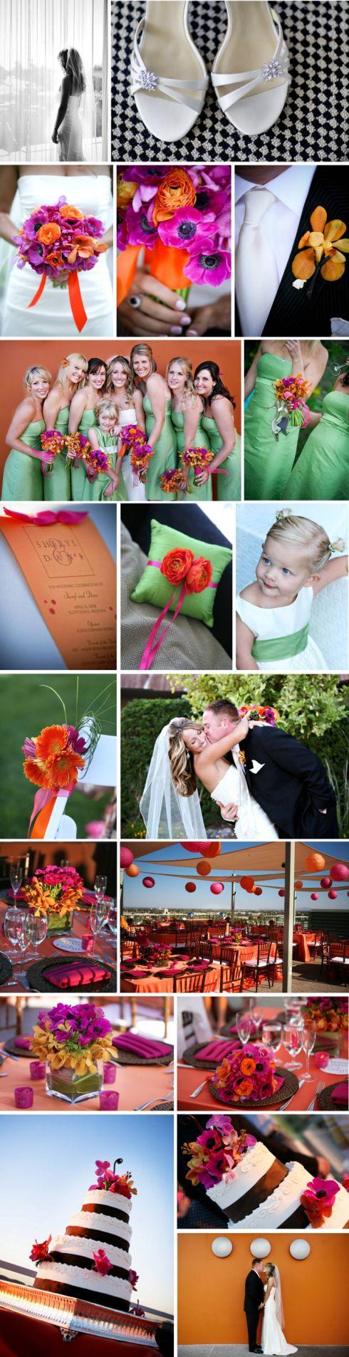 couleur mariage vert anis fushia et orange