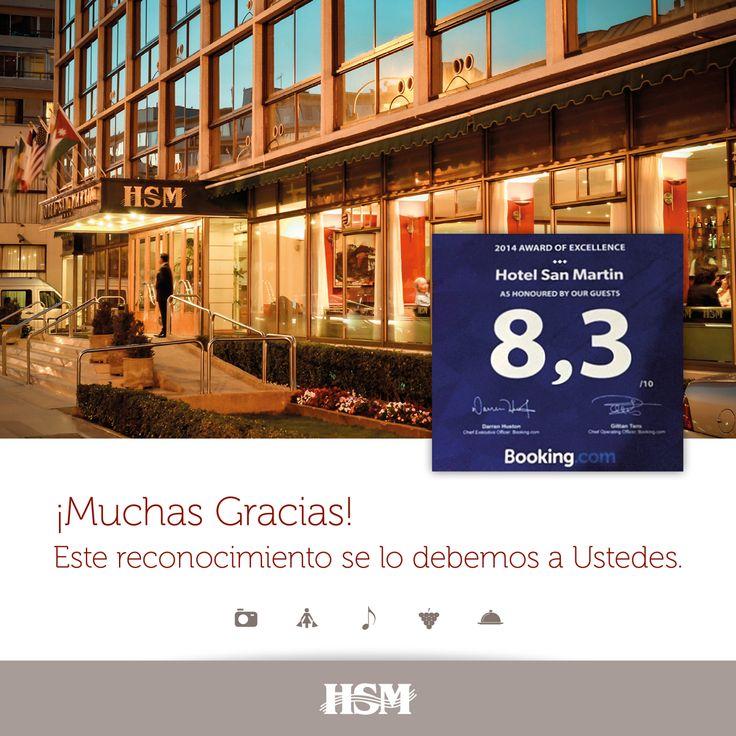 Tenemos el orgullo de contarles que el portal Booking.com nos galardonó con el Premio a la Excelencia 2014 por ser uno de los hoteles de #ViñadelMar más valorados por los usuarios.  ¡Gracias a todos quienes nos visitan y comparten sus experiencias, cumplir con sus expectativas es uno de nuestros principales objetivos!  #Turismo #Booking #Hotel #HSM #HSMChile #HotelSanMartin #ViñadelMar #VRegion #Chile