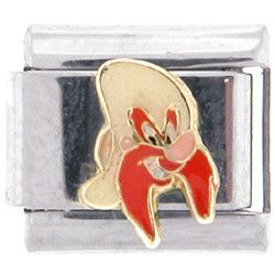 Officially Licensed LOONEY TUNES Italian Charms - Yosemite Sam - Side View