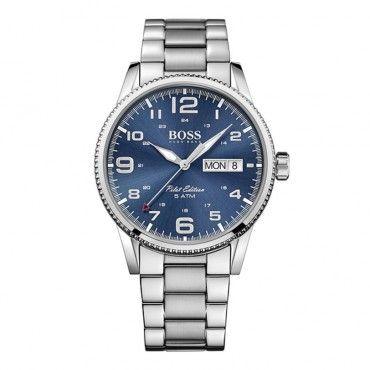 1513329 Ανδρικό quartz ρολόι HUGO BOSS με ημέρα-ημερομηνία, μπλε καντράν & μπρασελέ | Ανδρικά ρολόγια BOSS ΤΣΑΛΔΑΡΗΣ στο Χαλάνδρι #Boss #pilot #μπρασελε #ανδρικο #ρολοι