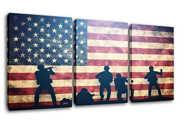 American Flag With Military Heroes Patriotic Wall Art Red Artwork American Flag Pictures