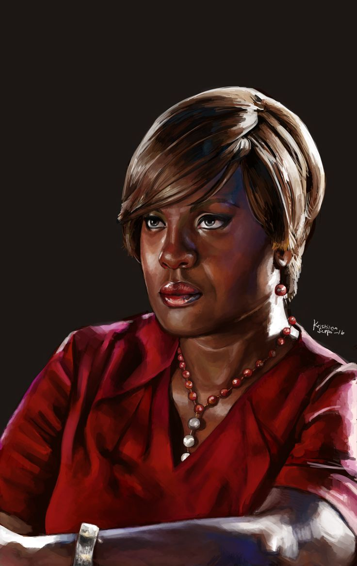 Portrait of Viola Davis as Annalise Keating from How to Get Away with Murder.  Painted in 2016.