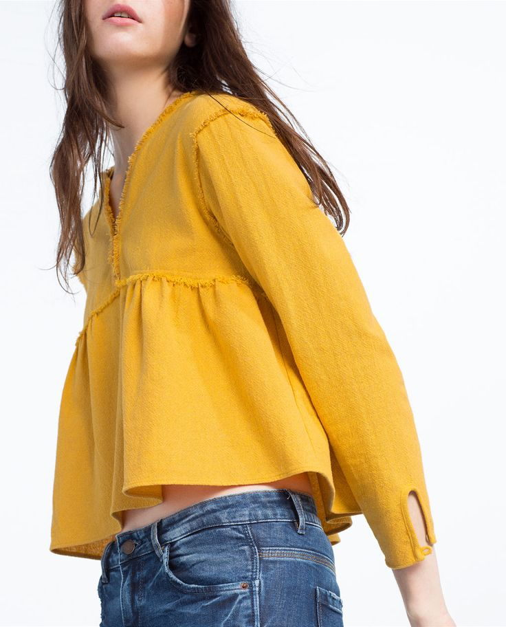 FRAYED NECKLINE TOP-TOPS-TRF | ZARA United States