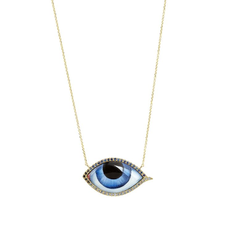 Gold, hand painted and enamelled eye, diamonds, zapphires