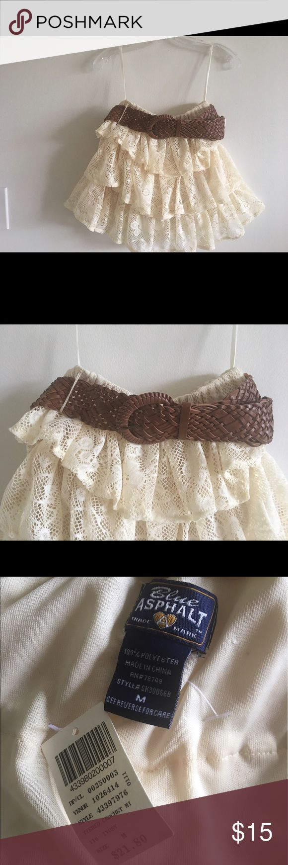 Gorgeous crochet trimmed frilly skirt Cream skirt with crochet trimming and cute frills . Has a nice brown belt ! I bought it coz it's so perfect and cute for summer but it's unfortunately a bit small for me ! Skirts Mini