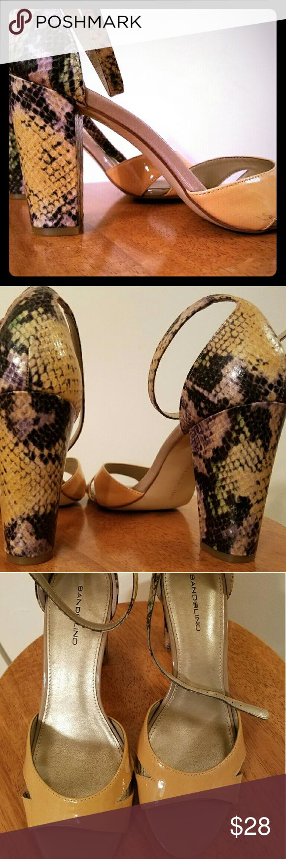 """Beautiful new heels Bandolino snake skin patterned heels (colors here are yellow, green, black and touch of purple) the front is more of a mustard/creamy tan color. Neutral in front, party in back ;) The heel is 3 & 1/2"""" tall. These look beautiful with the green and cream colored LLR Julia dress or strapy BCBGeneration dress also for sale in my closet. Bandolino Shoes Heels"""