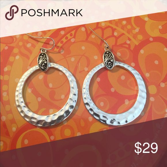 Brighton earrings Brighton silver earrings with etched detail at top Brighton Jewelry Earrings