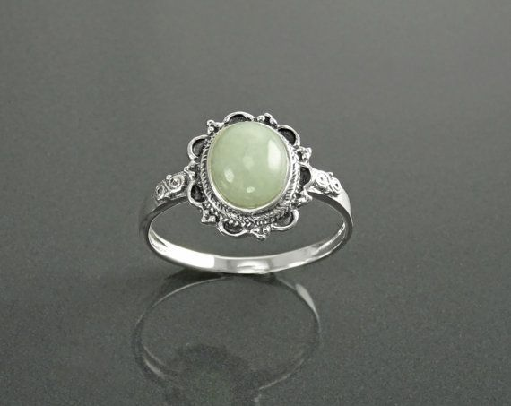 NATURAL Jade Ring Sterling Silver Boho Ring NOT-DYED by KRAMIKE
