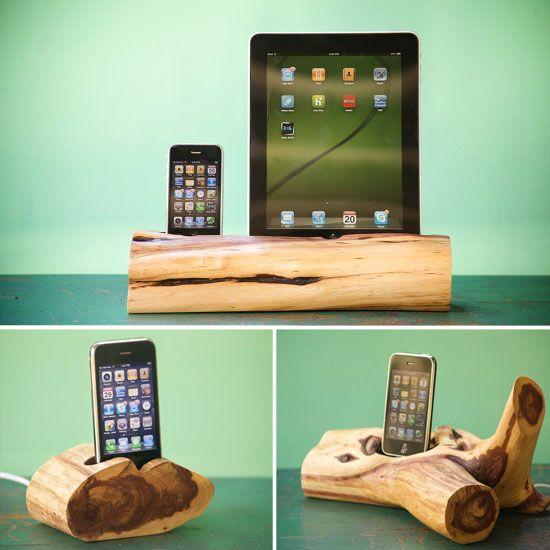 Cedar wood iPhone, iPod, and iPad docking stations.