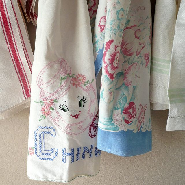 Vintage Kitchen Towels Vintage Hankies Linens And Such