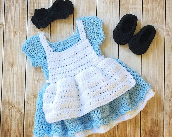 Alicia en el país de las maravillas inspirado a traje/Crochet Alicia en el país de las maravillas vestido/Alicia en el país de las maravillas fotos Prop recién nacido a 12 meses - hecho por encargo