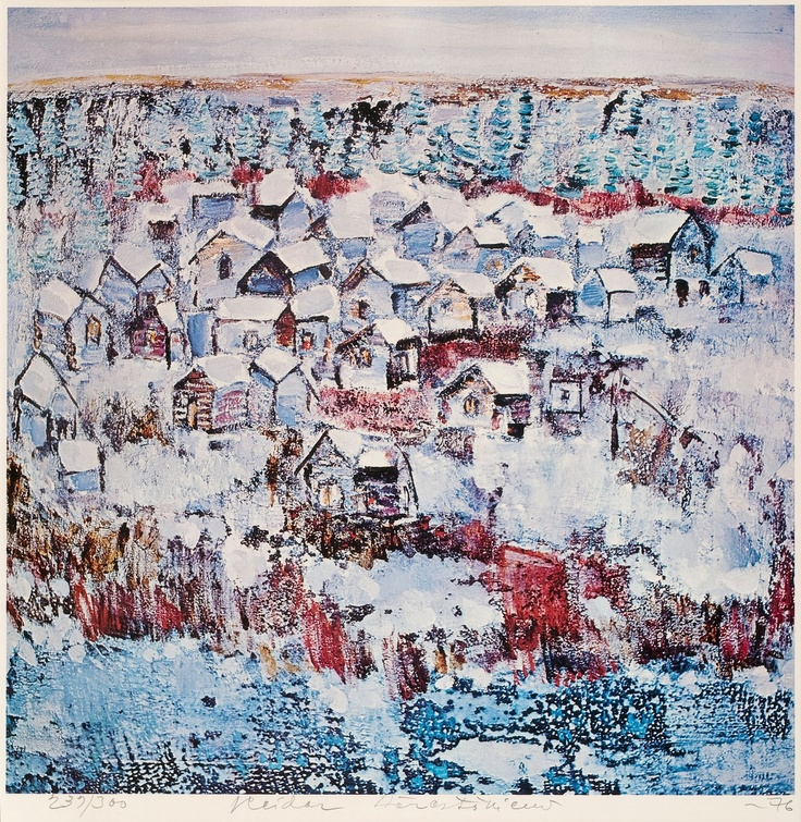 Reidar Särestöniemi (1925-1981) - Village in Winter