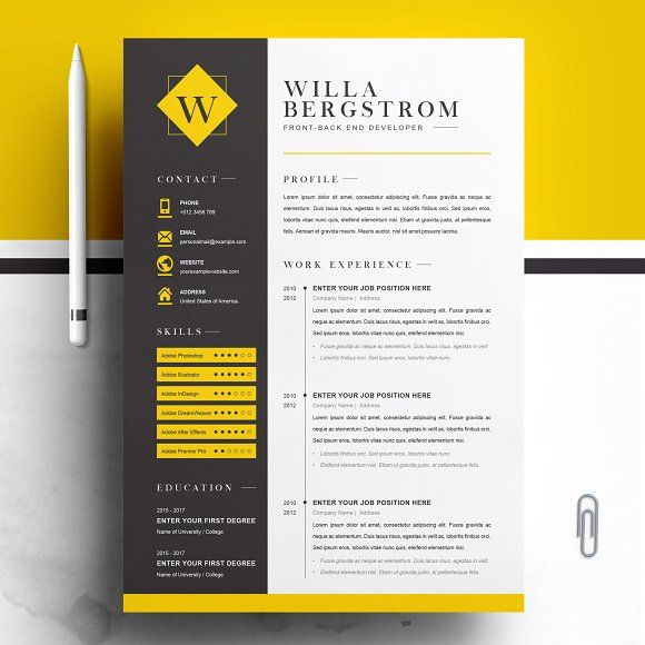 Minimal Yellow Resume Template Cv By Resumeinventor On