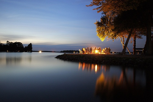 lakeside campfires.  Lake Couchiching in Ontario Canada.