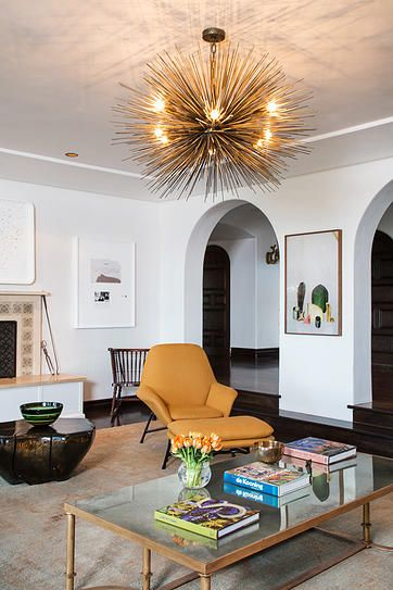 A Gorgeous Jean De Merry Chandelier Lights This Bel Air Sitting Room. An  Orange Minotti Amazing Pictures