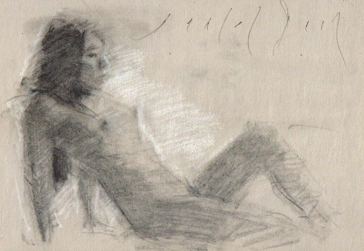 Female Nude Reclining Korean Girl Realistic Sketch -7411