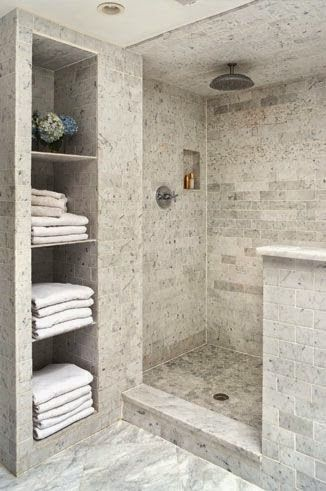 marble subway tile shower and niche master bathroom idea