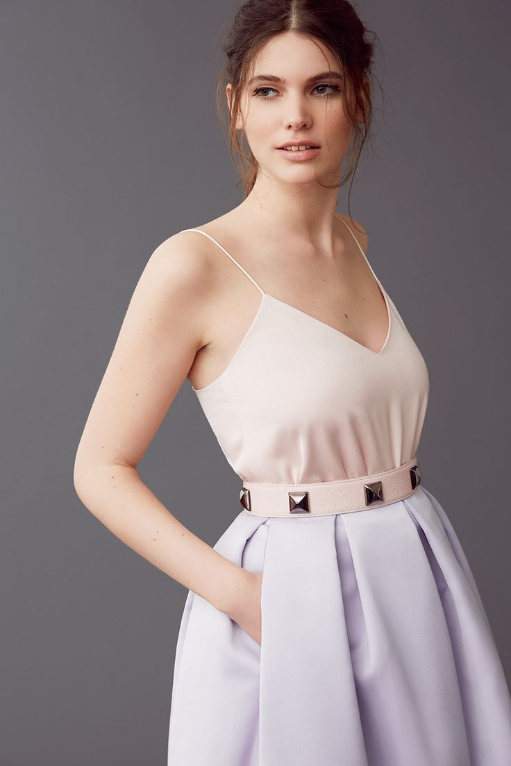 Mix & match your perfect dress! LYNN-FAYE in faded blush and old lavender with a studded belt in nude.