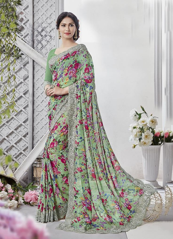 Flawless Georgette Multi Colour Printed Saree