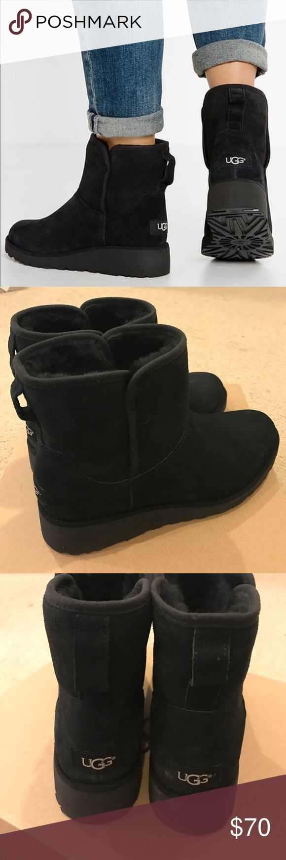 UGG Black wedge ankle boots The reason for the low price is the left is a 9 and the right a 9.5. They were used as store displays and never worn outside. In excellent condition. Authentic. UGG Shoes Winter & Rain Boots