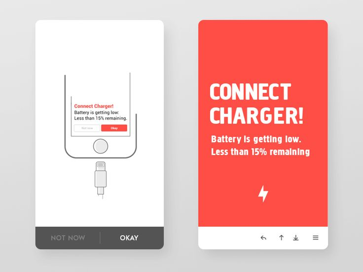 low battery alert concept. Notifications are inspired from Pinterest likes bright color with white text and tutorial image  Please view it @2x  Follow me to stay updated. Dribbble   Behance   Instagram