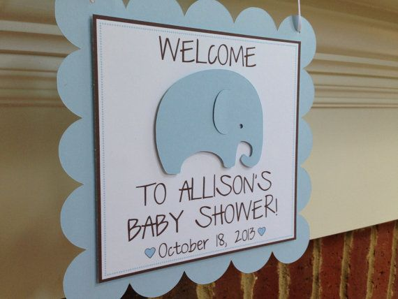 BABY SHOWER Decor Welcome Door Sign ELEPHANT Blue & Brown Boy