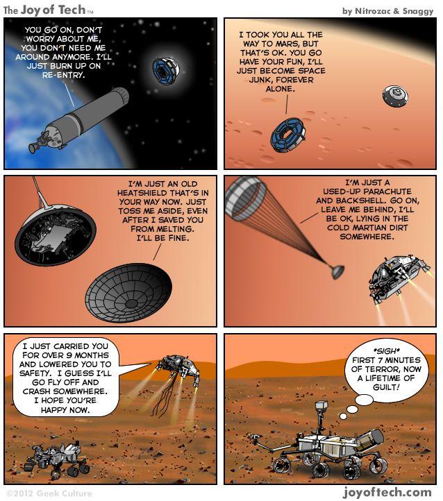 Curiosity's journey to MarsMars Rovers, Curio Land, Comics Character, Tech Comics, Science Funny, Curiosity Rover, Science Cartoons, Cosmic Humor, Guilty Mars