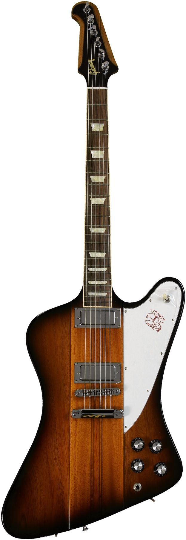 Gibson Firebird (Vintage Sunburst). Used to think they were ugly but I've since grown to love them.  They're oddly beautiful