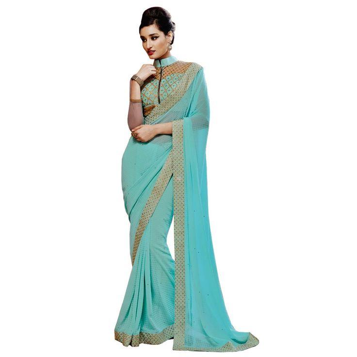 Sky Blue Georgette Designer #Saree With Blouse- $47.10