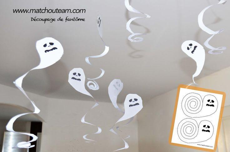 Atelier découpage pour Halloween   Des fantômes à découper pour la décoration, d'Halloween.