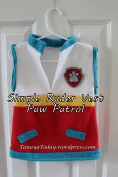 Simple Fleece Ryder Vest from Paw Patrol tutorial. No zipper or pockets. Tanaya Today