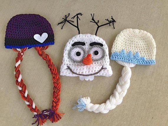 Handmade, crochet, Frozen inspired hats, Olaf hat, Anna Hat, frozen halloween costume, Elsa Hat