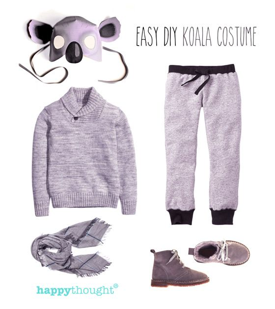 Easy to throw together koala costume with koala mask
