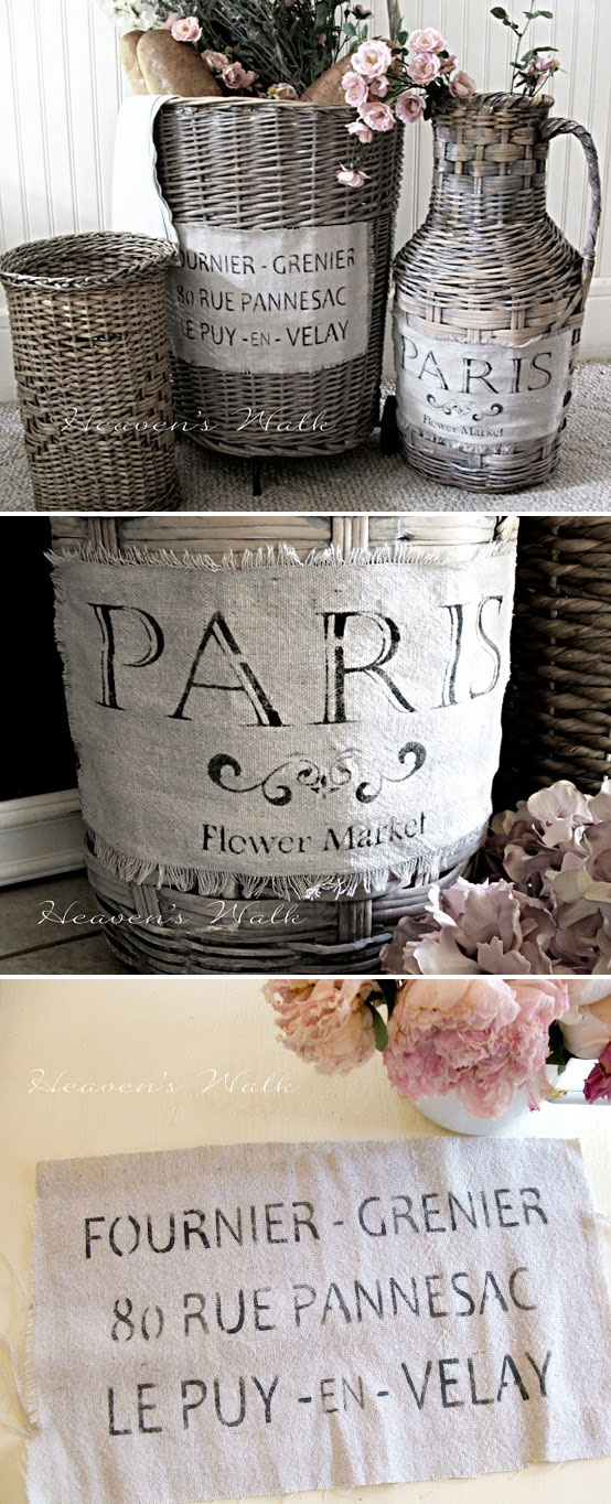 Print an image on painters drop cloth using your ink jet printer and then add to a cute white washed basket.