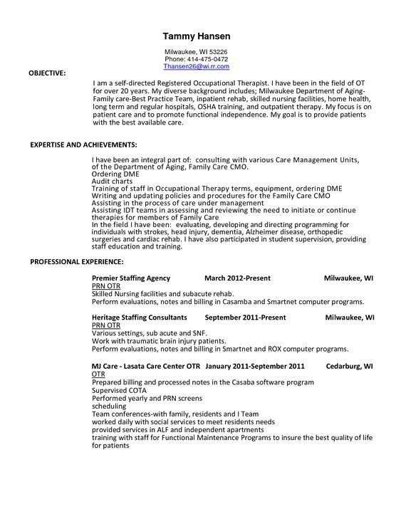 resume for occupational therapy template