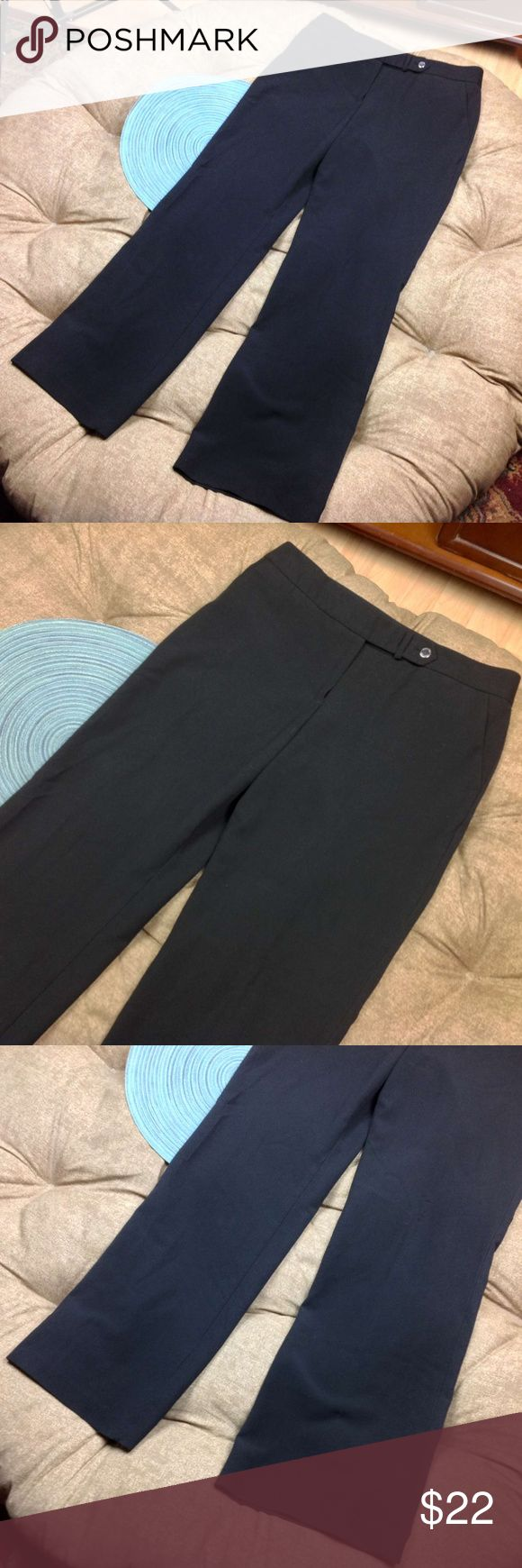 Calvin Klein Dress Pants 8 Womens Black Trouser Great Condition;  Calvin Klein Dress Pants 8 Womens Black Trouser Pockets Stretch; 73/23/4 Polyester/Rayon/Spandex; 16.5 across waist; 31 inch inseam; 9.5 inch rise Calvin Klein Pants Trousers