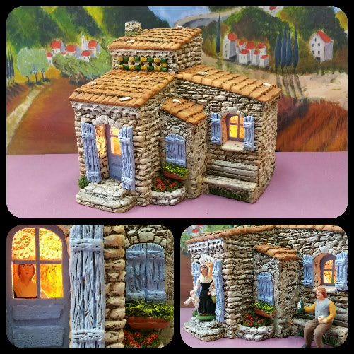 santons atelier de fanny santons et cr ches de no l santons de provence maison de village n 8. Black Bedroom Furniture Sets. Home Design Ideas