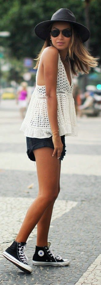 Oh, RIO - White Lace Blouse with Black Shorts and Chuck Taylor Sneakers / Sincerely Jules: