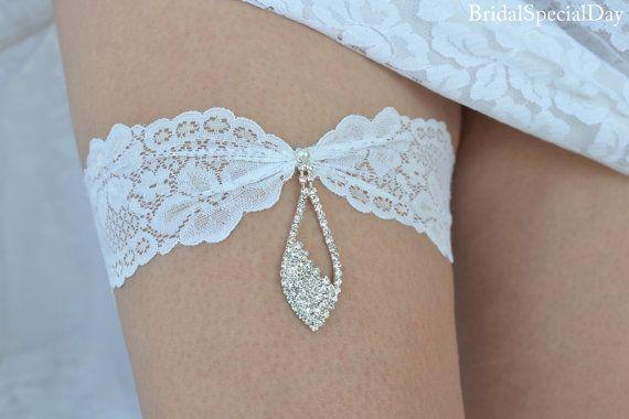 White Wedding Garter Set Stretch Lace Bridal Garter With Rhinestone Charm - Handmade Bridal Accessories