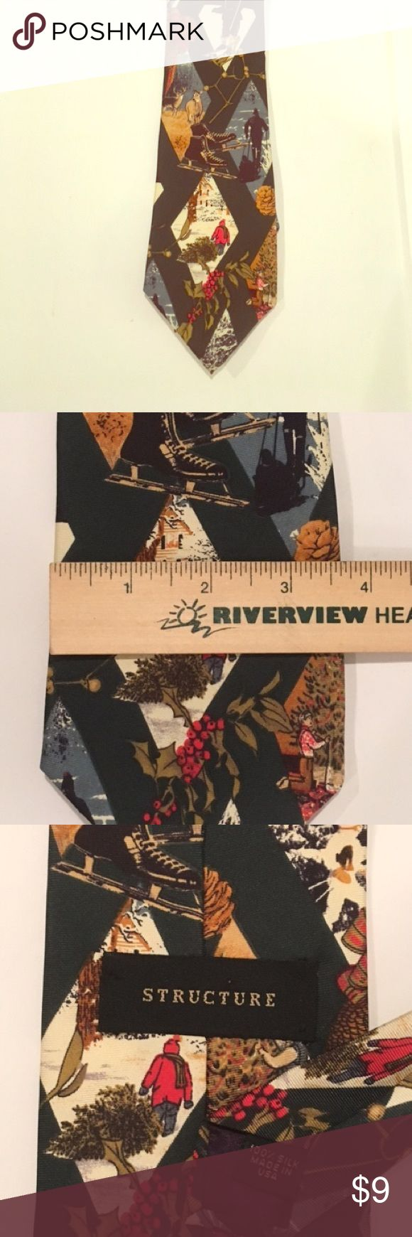 Beautiful Men's Structure Holiday Silk Tie This is a beautiful handmade 100% silk tie from the brand Structure. Holiday design, it's perfect for the upcoming festivities. A must have for the collection. Accepting offers. Thank you. Structure Accessories Ties