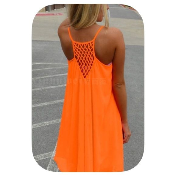 ❗️Wknd Sale❗️ Neon Orange Sleeveless  Beach Dress Bright Neon Orange Beach Party Dress! Lined down to last few inches of the dress that is sheer for a sexy look! Dresses Mini
