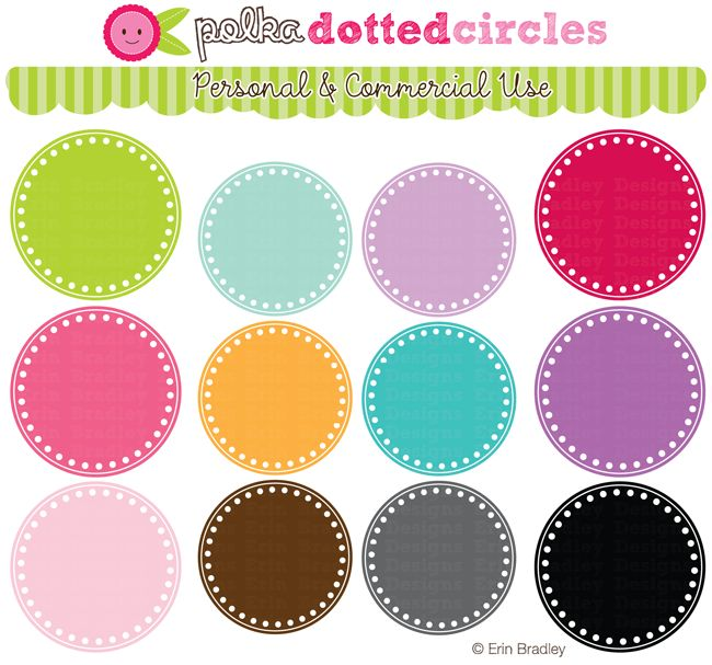 Polka Dotted Circles Clipart by Erin Bradley Designs  LOVE her stuff!! Just downloaded a bunch of graphics for the 10th bday party...so much fun!!