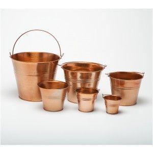 Copper Coloured Galvanised Metal Bucket, planter, pot (W9013) | Craftmill